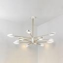 2 Tiers Sputnik Indoor Lighting Fixture Modern Plastic Multi Light Chandelier in White and Gold