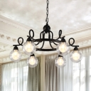 Mini Ball Chandelier Light with Twisted Arm Vintage Clear Glass 6 Lights Art Deco Suspension in Black