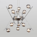 Linear Chandelier Ceiling Light with Mini Ball Post Modern Smoke Glass Multi Light Suspension in Chrome