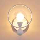 White Halo Ring Sconce Lighting with Global Glass Shade Contemporary 1 Head Wall Light Fixture