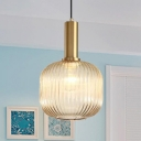 Cognac Ribbed Glass Bottle Hanging Light Modern Design 1 Light Suspended Light for Dining Room
