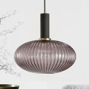 Smoke Ribbed Glass Bottle Suspended Light Nordic Modern Single Light Pendant Lamp for Bedroom