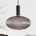 Smoke Ribbed Glass Bottle Suspended Light Nordic Modern Single Light Pendant Lamp for Bedroom