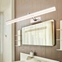 Minimalist Linear Makeup Mirror Light Rotatable Acrylic Waterproof Vanity Light in Stainless for Bathroom