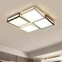 Geometric Square LED Ceiling Fixture Modernism Metallic Flush Light Fixture in Black and White