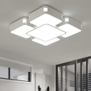 White Quadrate Flushmount with Acrylic Shade Modern Design LED Lighting Fixture for Hotel Hall