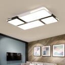 Linear LED Flush Light Fixture with Acrylic Shade Modern Design Ceiling Lamp in Black and White