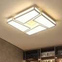 4 Trapezoid Shade Flushmount Simple Concise Metal Decorative LED Flush Light Fixture in White