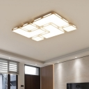 Simple Modern Blocks Ceiling Fixture Acrylic Decorative LED Flushmount in White for Hotel Hall