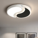 Yin Yang Surface Mount Ceiling Light Contemporary Metallic LED Flushmount in Warm/White