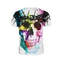 Cool 3D Skull Painting Crewneck Short Sleeve Loose Leisure White Tee