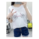 Summer Cute Letter Bike Embroidery Round Neck Relaxed T-Shirt
