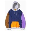 Popular Kpop Colorblock Long Sleeve Blue Oversized Pullover Hoodie