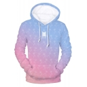 Boy Band Fashion Ombre Floral Print Simple Long Sleeve Regular-Fit Blue Hoodie