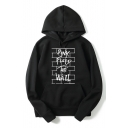 Rock Band Letter THE WALL Print Loose Fitted Long Sleeve Pullover Hoodie