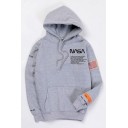Popular NASA Letter Logo Printed Long Sleeve Loose Fit Sport Unisex Grey Hoodie