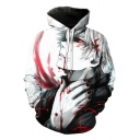 3D Comic Boy Pattern Cosplay Costume Long Sleeve White Hoodie