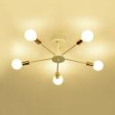 White Branching Semi Flushmount Simplicity Metal Multi Light Decorative Ceiling Fixture for Bedroom