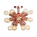 Impulse Surface Mount Light Industrial Vintage Metal Multi Light Semi Flush Mount Lighting in Rose Gold