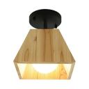 Woody Tapered Square Semi Flushmount Modern Chic 1/2/3 Light Indoor Lighting with Black Canopy