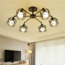 Industrial Branching Ceiling Lamp with Black Metal Cage Multi Light Semi Flush Light Fixture for Sitting Room