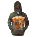 Funny 3D Pizza Cat Galaxy Pattern Full Zip Front Long Sleeve Loose Fit Green Hoodie