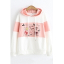 Girls Cartoon Cat Printed Colorblock Long Sleeve Loose Fit Pullover Hoodie