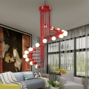 Scarlet Red Spiral Hanging Light Modern Chic Metallic Multi Light Suspension Light