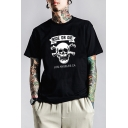 Summer Cool Skull Letter RIDE OR DIE Printed Short Sleeve Loose Fit Graphic Tee