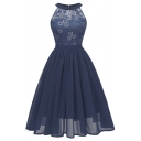 Sexy Lace-Panelled Sleeveless Midi A-Line Chiffon Dress Evening Dress for Women