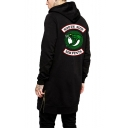 Fashion Snake Logo Back Zip Side Long Sleeve Hipster Black Hoodie for Guys