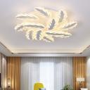 Leaves Design 2 Tiers Lighting Fixture Modernism Acrylic Home Decor LED Semi Flush Light Fixture