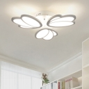 3/6 Heads Tulip Ceiling Light with Round Metal Canopy Modern Fashion LED Lighting Fixture in White