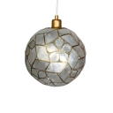 Single Head Spherical Pendant Light Modern Design Shelly Hanging Lamp in Brass with Flower Pattern