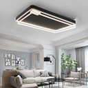 Black Rectangle Canopy LED Flush Light Contemporary Aluminum Ceiling Lamp for Living Room