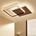 Minimalist Ultra Thin Square Flush Mount Metal Energy Saving LED Ceiling Fixture in Coffee