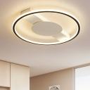 Linear Flush Light with Black Circular Ring Minimalist Metallic Lighting Fixture for Corridor