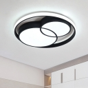Halo Ring Flush Light Fixture Modern Chic Metal LED Ceiling Lamp in Black for Dining Room