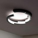 Nordic Style Arched LED Flushmount Metallic Ceiling Lamp in Black and White for Coffee Shop
