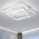 Metallic 3 Square Ring Semi Flush with Linear Canopy Nordic Style LED Ceiling Light in White