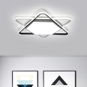 Contemporary Six-pointed Star Flush Mount with Acrylic Shade Decorative LED Ceiling Lamp in Black and White