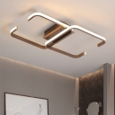 Coffee Square Frame Ceiling Fixture Modern Design Metallic LED Flushmount for Hotel Hall
