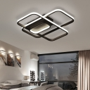 Black Border LED Ceiling Light with Oblong Shape Nordic Style Acrylic Flush Light Fixture