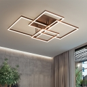 Metallic Geometric Pattern Ceiling Flush Mount Minimalist Energy Saving LED Flush Light in Brown