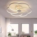 White Flower Ceiling Flush Mount Modernism Acrylic 3/5/6 Lights LED Semi Flushmount for Foyer