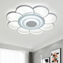 Super-thin Bloom Shape Ceiling Light Contemporary Decorative Metal LED Flush Mount in White
