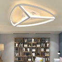 Ultra Thin Triangle Flush Mount Lighting Modernism Metallic LED Lighting Fixture in White