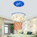 Glass Basketball Hanging Light Boys Room Height Adjustable 3 Heads Pendant Light in Blue/Orange
