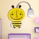 Cute Bee 1 Head Wall Sconce with Clock Yellow Acrylic Wall Light Sconce for Baby Kids Room
