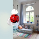 Red Ladybug Wall Lamp Metal Single Light Wall Light Sconce for Nursing Room